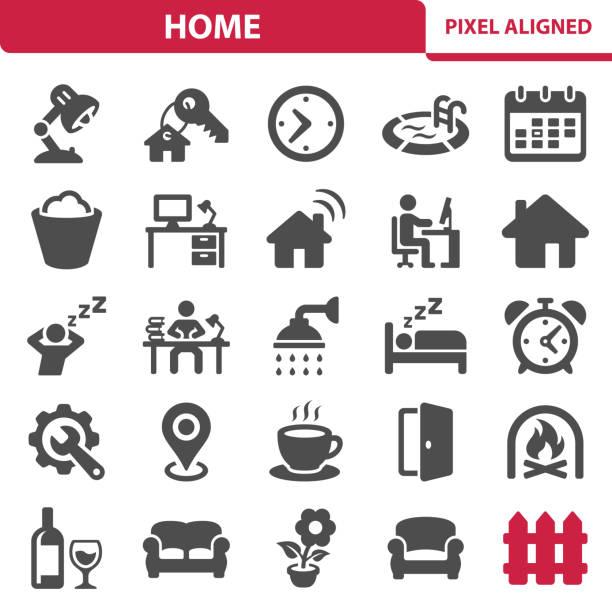 stockillustraties, clipart, cartoons en iconen met huis pictogrammen - alarm, home,