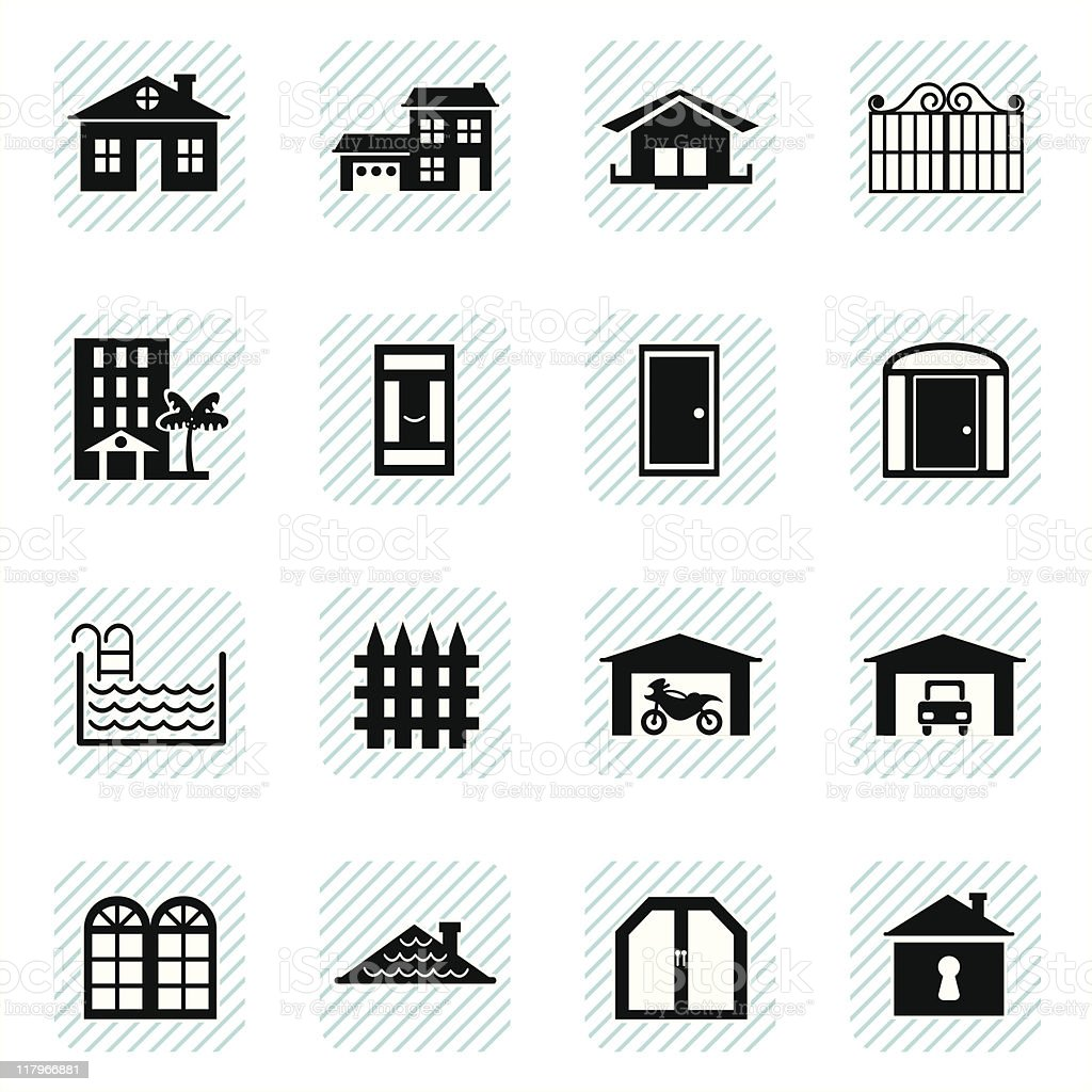 Home Icons (vector) vector art illustration
