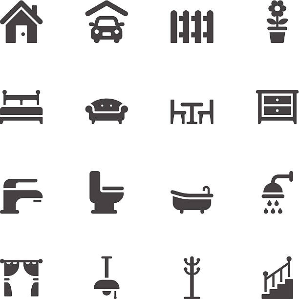 Home icons vector art illustration