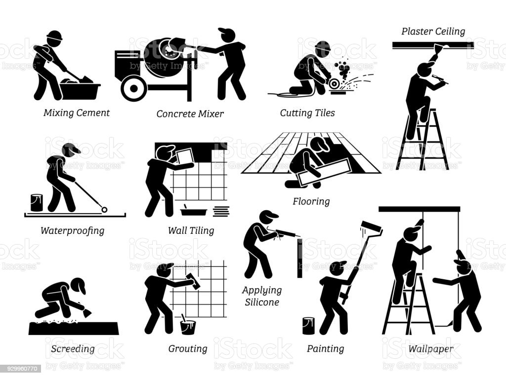 Line Art House : Home improvement and house renovation icons stock vector art