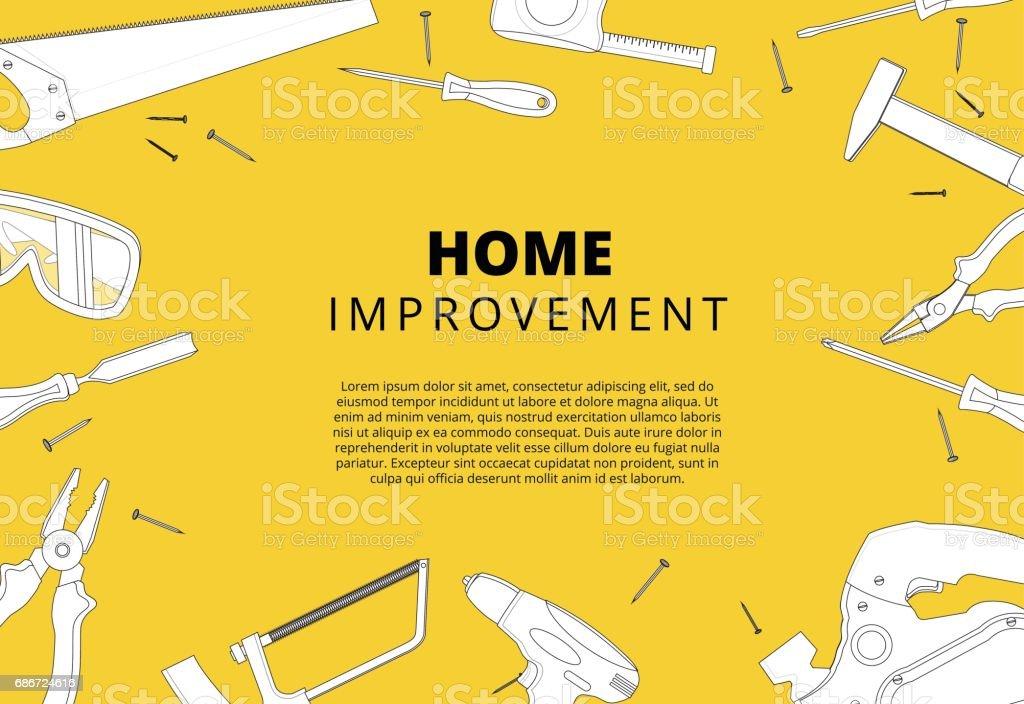 Fundo de melhoria home com ferramentas de reparação. Reforçado com casa - ilustração de arte em vetor