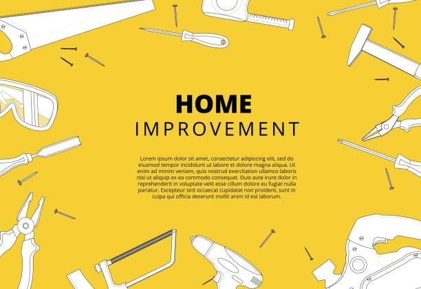 Home improvement background with repair tools. House constructio Home improvement background with repair tools. House construction layout. Renovation backdrop with carpenter instruments flat lay banner. Vector illustration. renovation stock illustrations