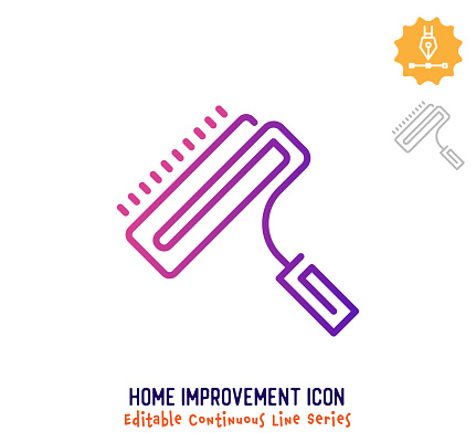 Home Improvement Continuous Line Editable Icon