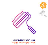 Home improvement vector icon illustration for logo, emblem or symbol use. Part of continuous one line minimalistic drawing series. Design elements with editable gradient stroke.