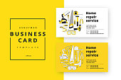 Home improvement corporate business card with repair tools. Hous