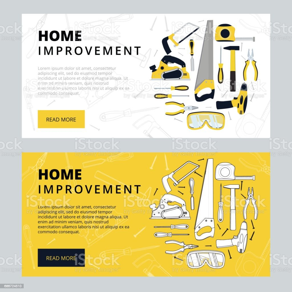 Home improvement corporate web banner template. House constructi vector art illustration