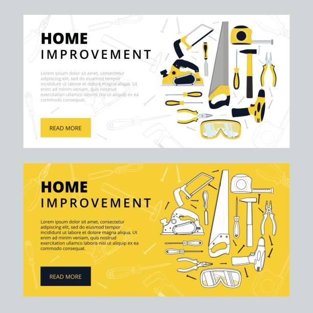 hauptverbesserung corporate web banner vorlage. haus erfah - handwerker stock-grafiken, -clipart, -cartoons und -symbole
