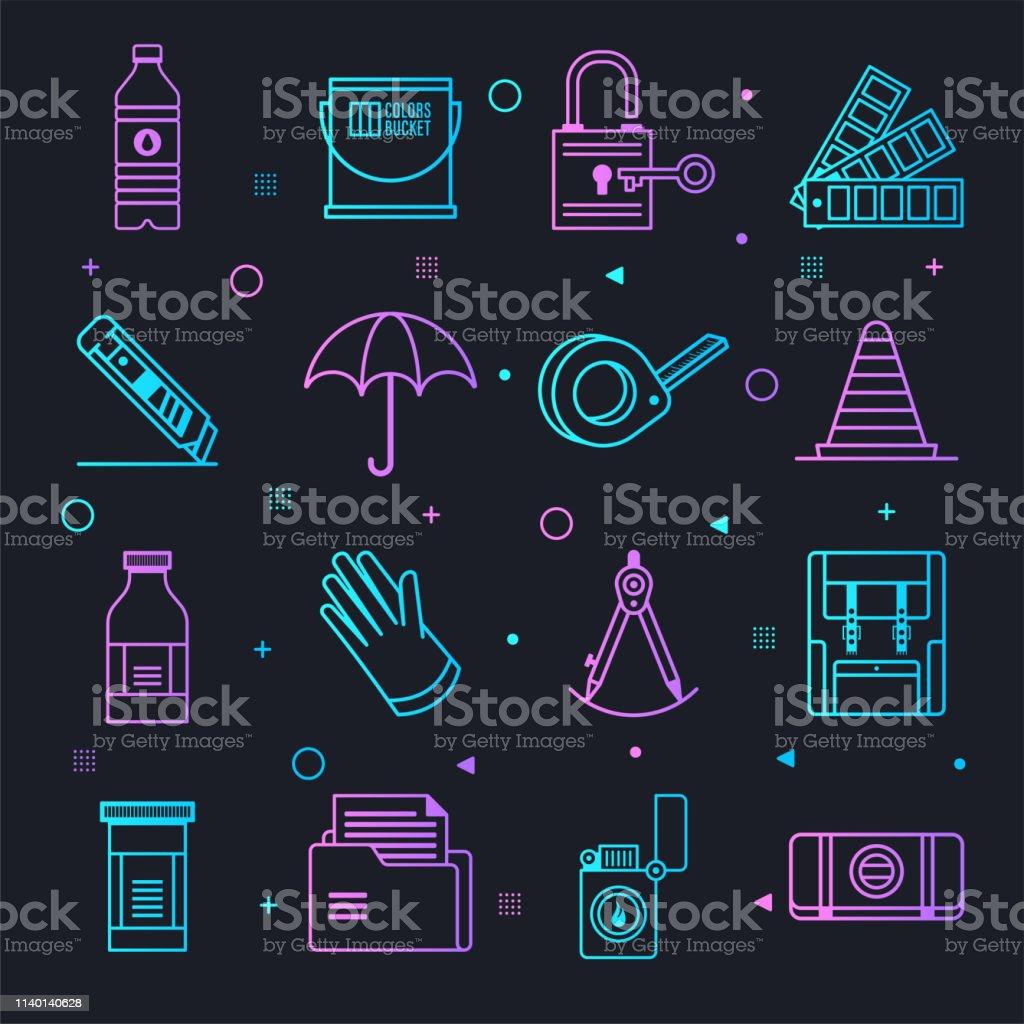 Home Improvement Decisions Constellation Line Gradient Vector Icons Set - Grafika wektorowa royalty-free (Decyzje)