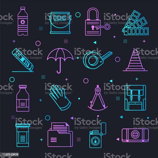 Home Improvement Decisions Constellation Line Gradient Vector Icons Set - Stockowe grafiki wektorowe i więcej obrazów Decyzje