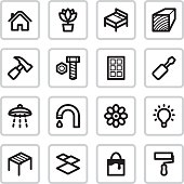 16 black vector icons for home improvement projects.