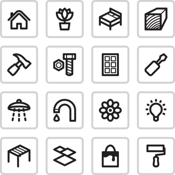 renovierung icons/schwarz - schultischrenovierung stock-grafiken, -clipart, -cartoons und -symbole
