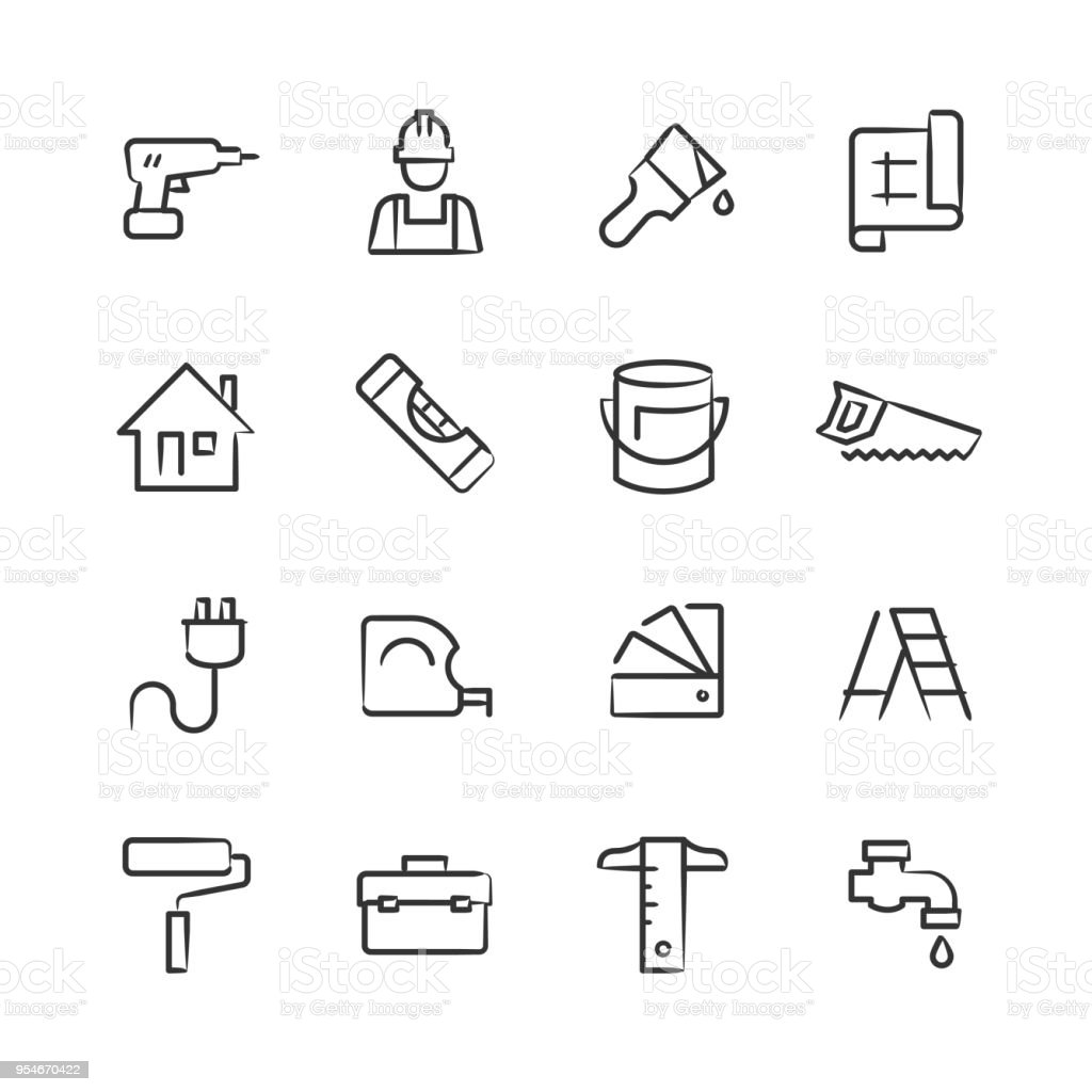 Home Improvement Icons — Sketchy Series vector art illustration