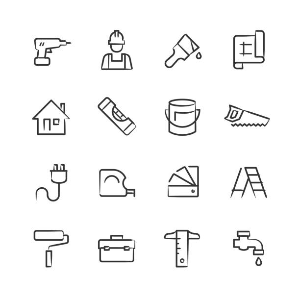 Home Improvement Icons — Sketchy Series Professional icon set in sketch style. Vector artwork is easy to colorize, manipulate, and scales to any size. interior designer stock illustrations