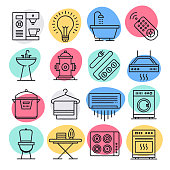 Home improvement industry doodle style concept outline symbols. Line vector icon sets for infographics and web designs.