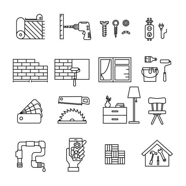 Home Improvement line icon set vector illustration interior designer stock illustrations