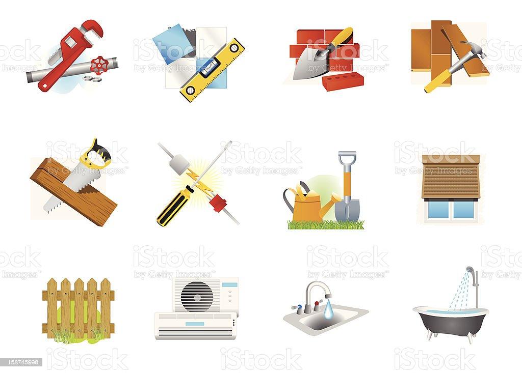 Home Improvement & Renovation Icons vector art illustration