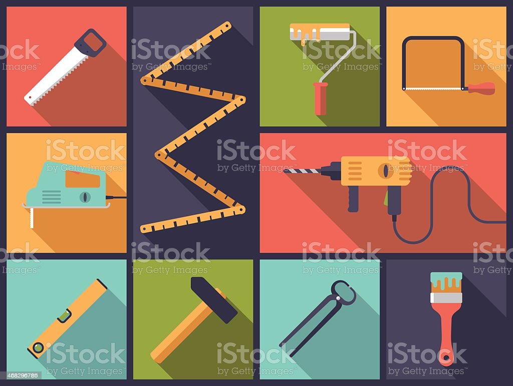 Home improvement tools Flat Icons Vector Illustration vector art illustration