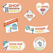 istock Home Improvement Website Sticker Banner set 1299318577