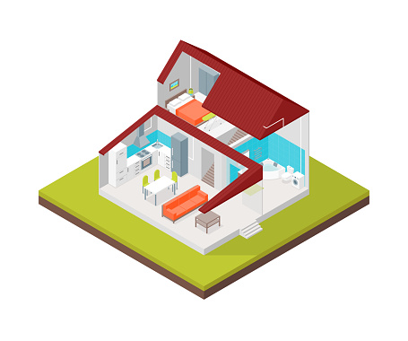 Home in Section Concept 3d Isometric View. Vector