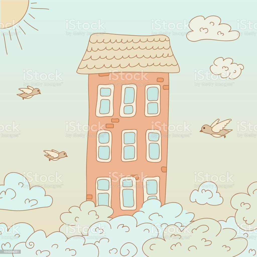 Home in the sky royalty-free stock vector art