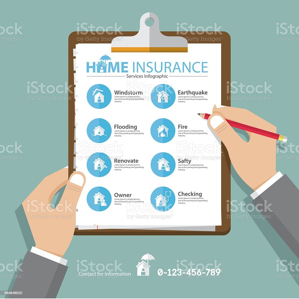 Home  infographics in flat design. Real estate insurance icons. Vector vector art illustration