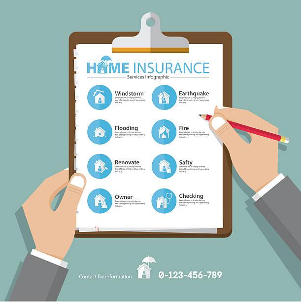 stockillustraties, clipart, cartoons en iconen met home  infographics in flat design. real estate insurance icons. vector - illustraties van bosbrand