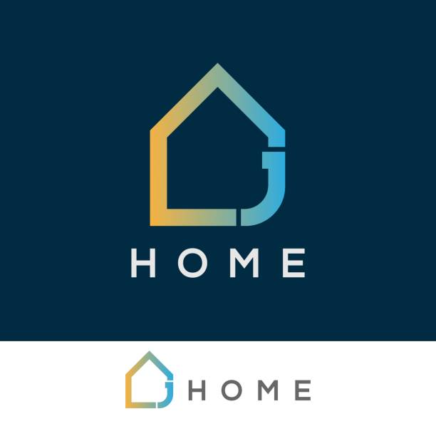 home initial Letter J icon design icon template with home element letter j stock illustrations