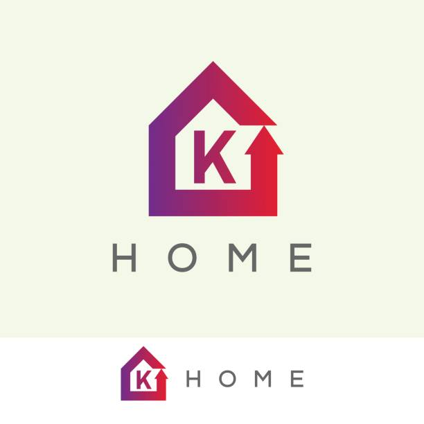 Home initial Letter K icon design icon template with Home element k logo stock illustrations