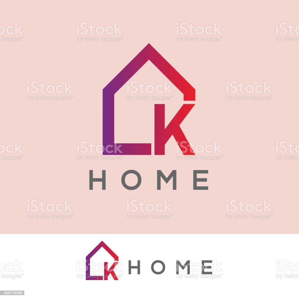 ホームの初期の手紙 K アイコン デザイン ベクターアートイラスト