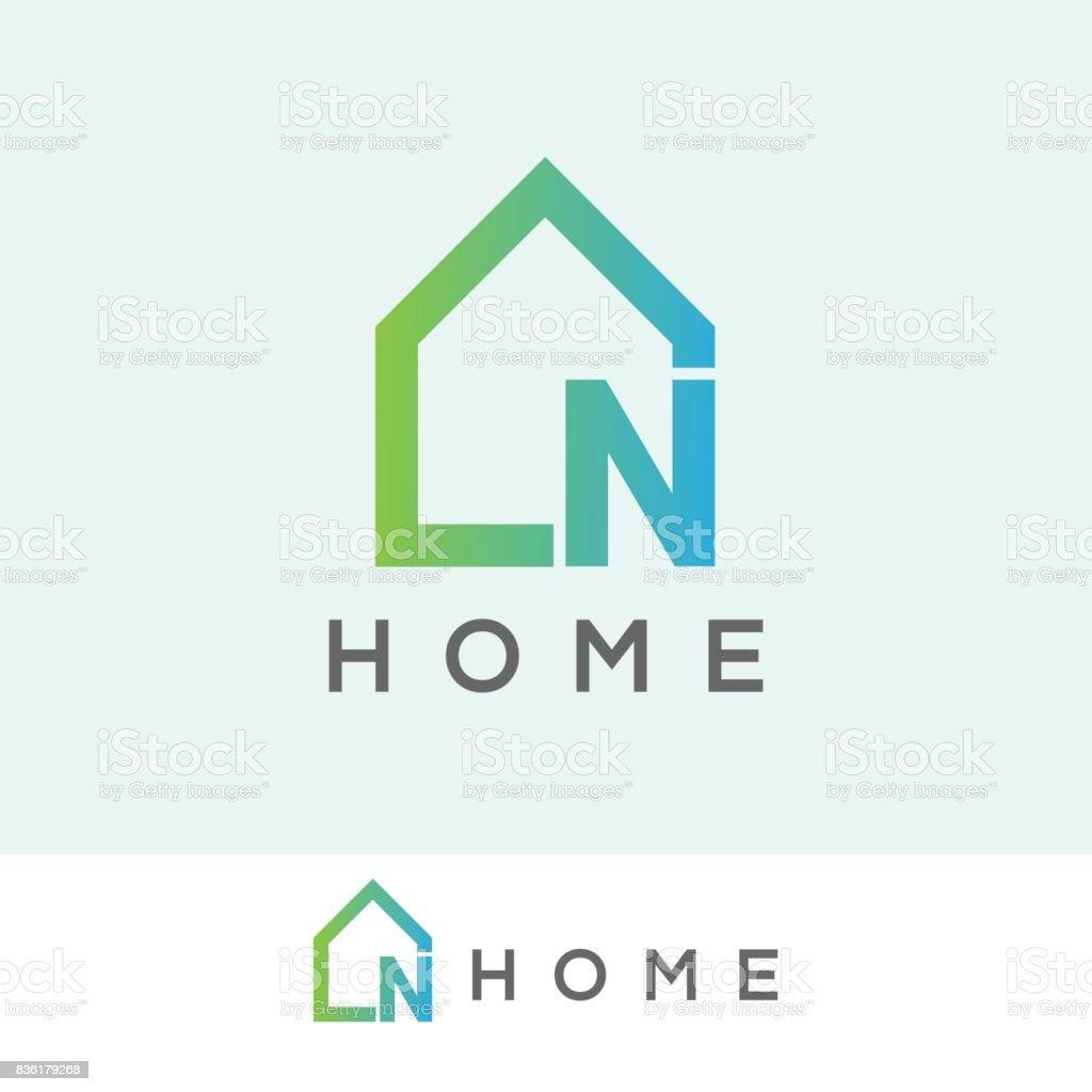 home initial Letter N icon design vector art illustration