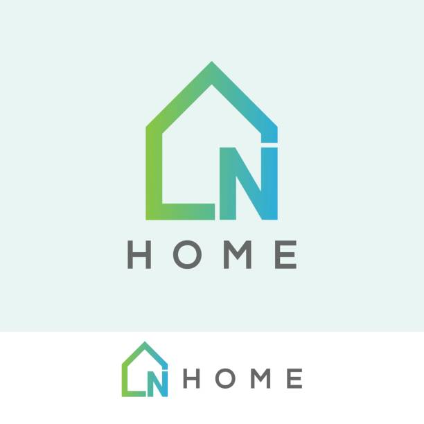 home initial letter n icon design - real estate logos stock illustrations, clip art, cartoons, & icons