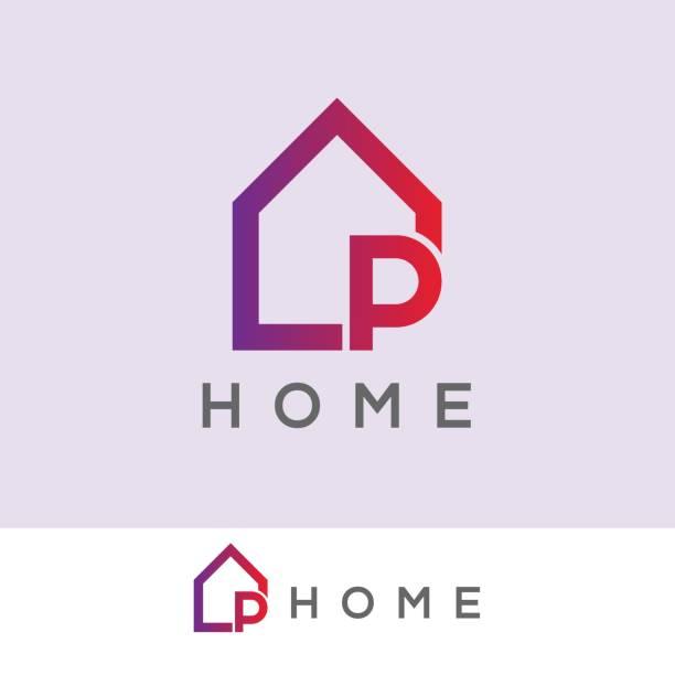 illustrations, cliparts, dessins animés et icônes de conception de maison initiale icône lettre p - logos immobilier