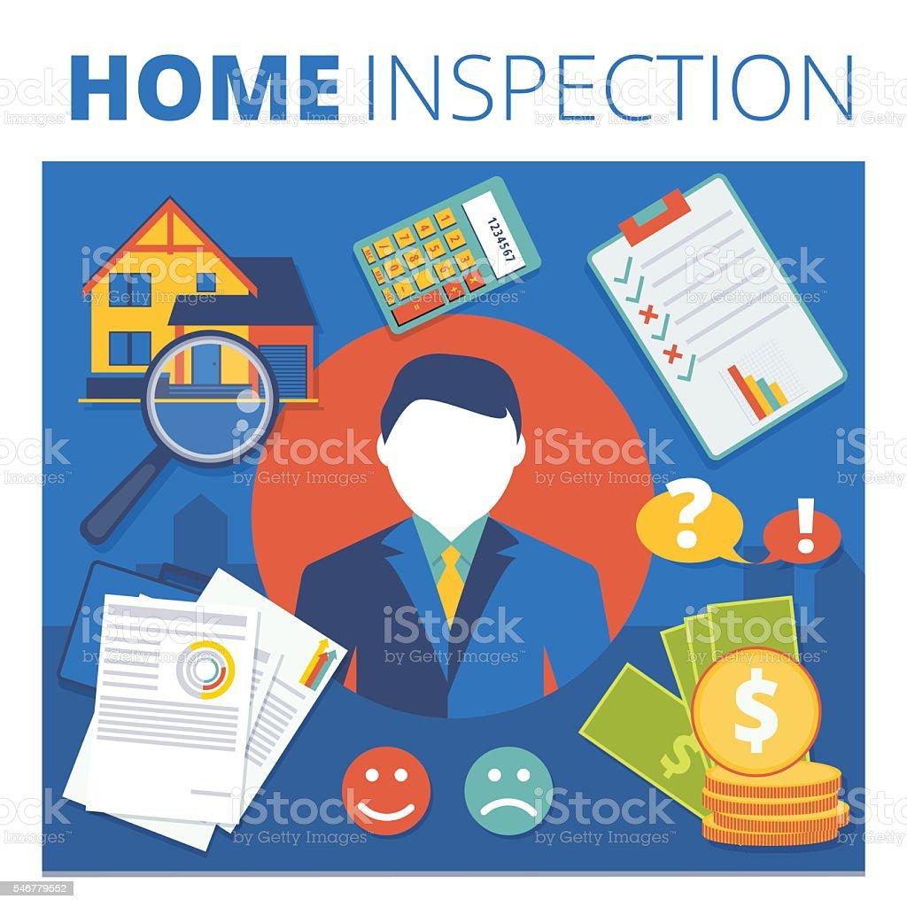 Home inspection vector concept design. Real estate appraisal vector art illustration