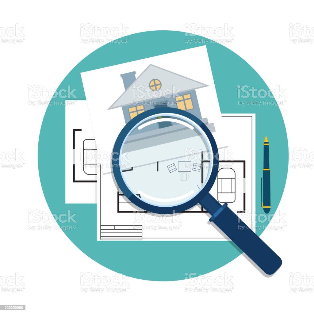 home inspector icon vector art illustration