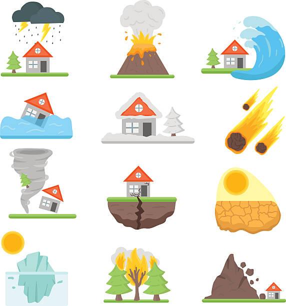 illustrations, cliparts, dessins animés et icônes de assurance habitation illustration vectorielle avec ensemble d'icônes de maison de la souffrance - desastre natural