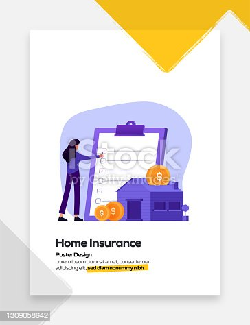 Home Insurance Concept Flat Design for Posters, Covers and Banners. Modern Flat Design Vector Illustration.