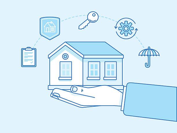 ilustraciones, imágenes clip art, dibujos animados e iconos de stock de home insurance concept - illustration and infographics design el - hipotecas y préstamos