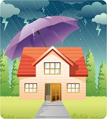 A little house covered by an umbrella from the rain. Vector illustration EPS8