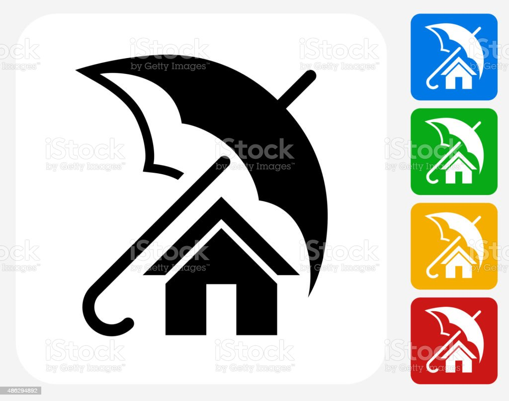 Home Insurance Icon Flat Graphic Design vector art illustration