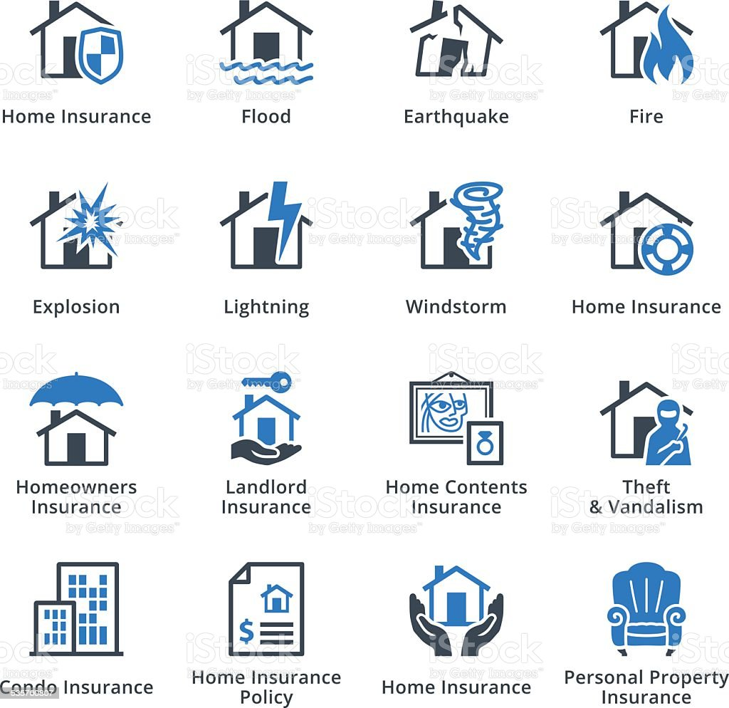 Home Insurance Icons - Blue Series vector art illustration