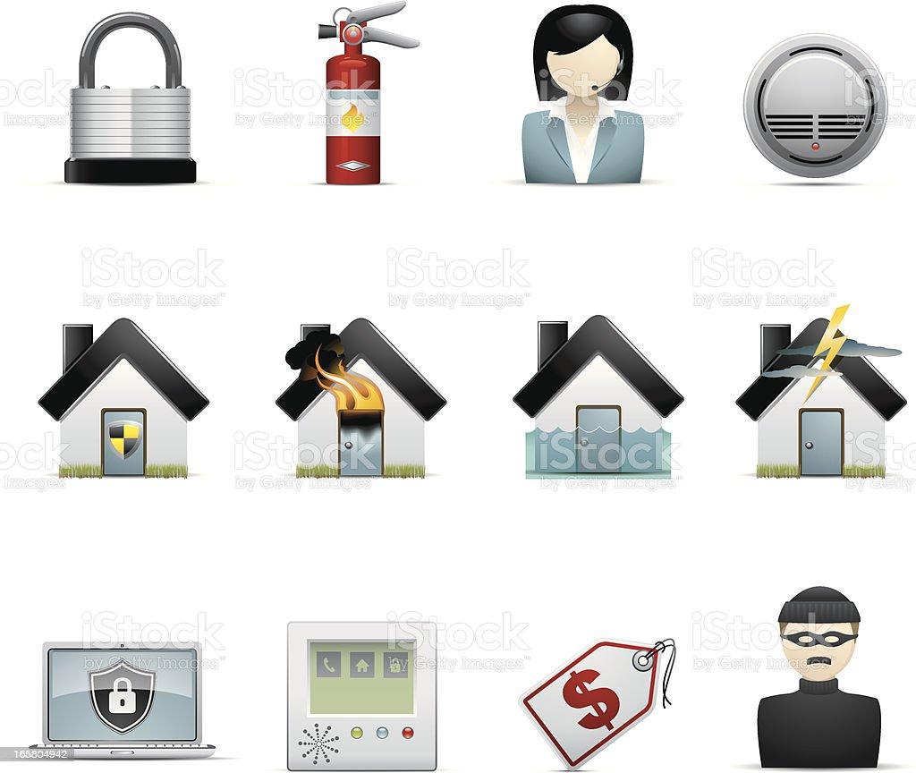 Home Insurance Icons vector art illustration