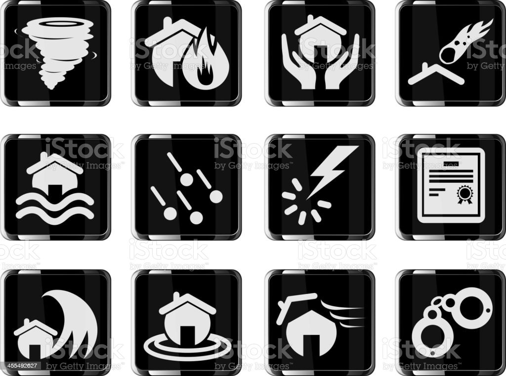 Home Insurance Icons royalty-free home insurance icons stock vector art & more images of black color
