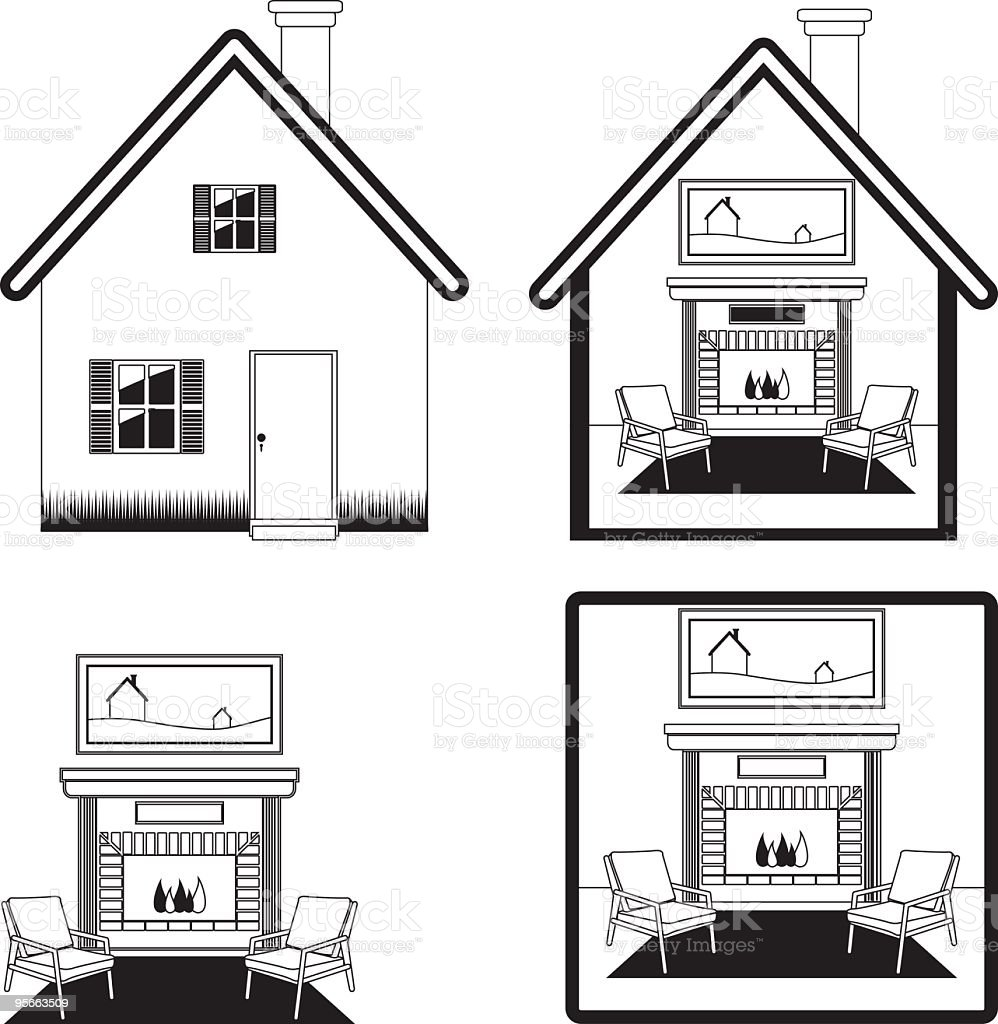 Home Insurance Icons royalty-free stock vector art