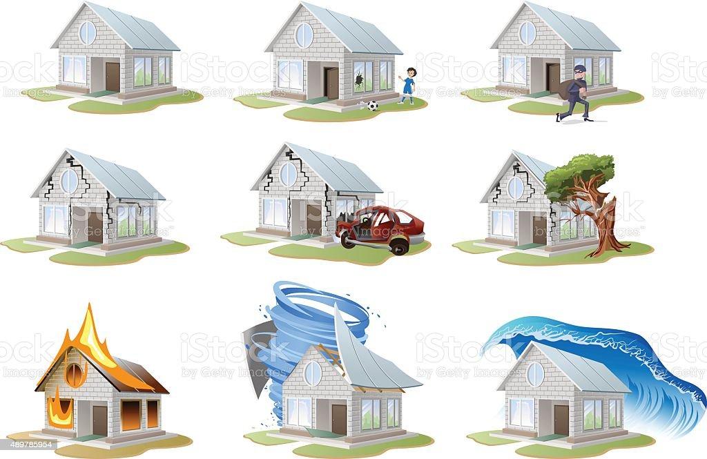 Home insurance. Property insurance. Big set house insurance vector art illustration