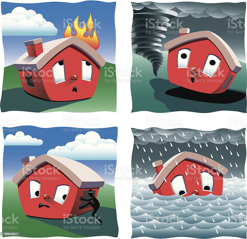 Home Insurance royalty-free home insurance stock vector art & more images of accidents and disasters