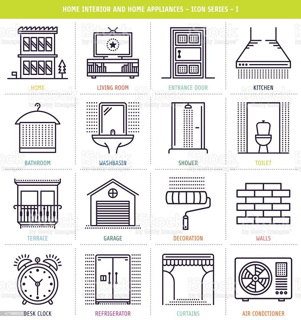 Home Interior and Appliances vector art illustration