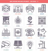 Home interior and appliances icons set. Line style vector illustrations with set of electronic home devices and home interior details.