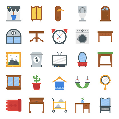 Home Interior and Decorations Flat Icons Pack
