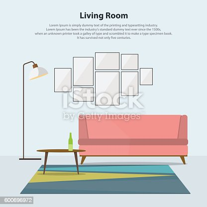 Home Interior Design Modern Living Room With Pink Sofa Vector Stock ...
