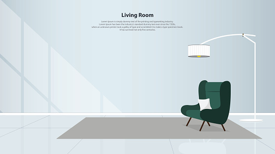 Home interior design with furniture. Modern living room with green armchair, table, lamps and carpet in flat design. Minimal style. Vector illustration.